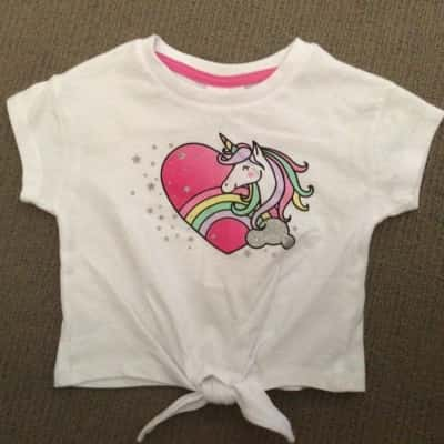 BNWT Toddler Girls UNICORN SPARKLE PRINT T SHIRT Size 1 White / Pink / Multicoloured RRP $7