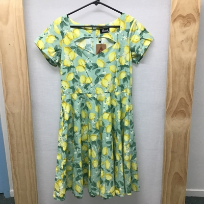 Revival, Lemon print dress (with pockets), Size 14, NWT, RRP $88