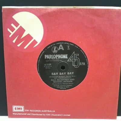 "Vinyl 7"" Single Record by Paul McCartney & Michael Jackson - Say Say Say"
