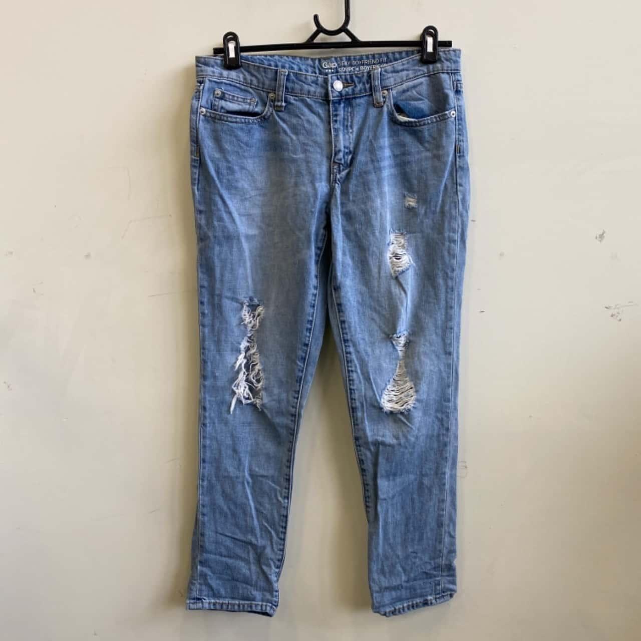 Gap Womens Size 8 Ripped Boyfriend Fit Light Blue Jeans