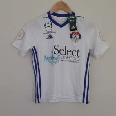 BNWT Kids ADIDAS SOCCER TOP Size 11-12 years Springvale white eagles Top  Blue/Multicoloured/White RRP $45.00