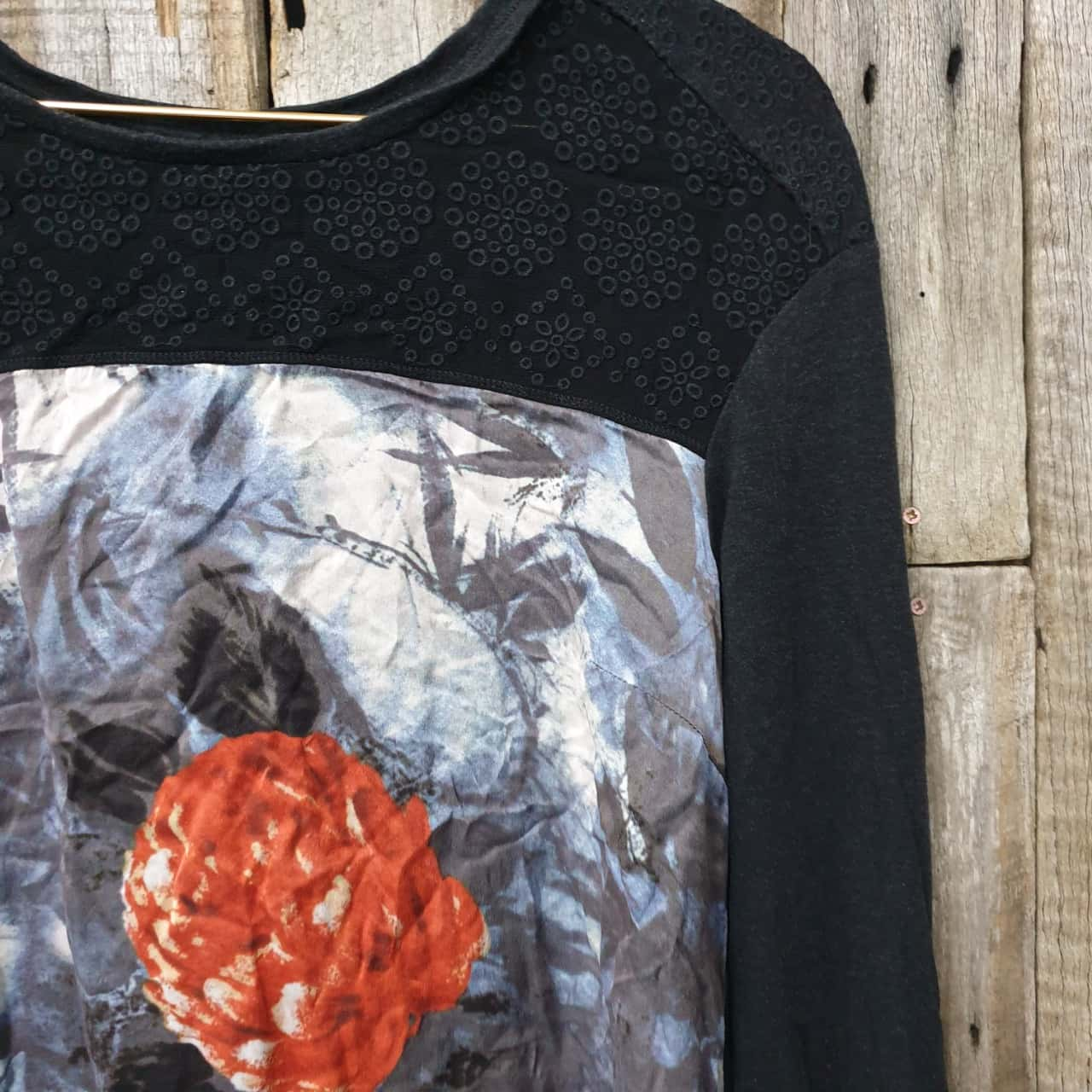 Women's Verge Floral Silk Panel Top, Size XS