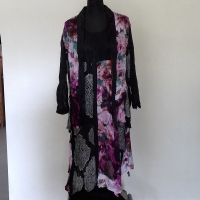 Womens TS BRAND 2 Piece set Jacket & Dress  Lightweight Size 16 Black Multicolours