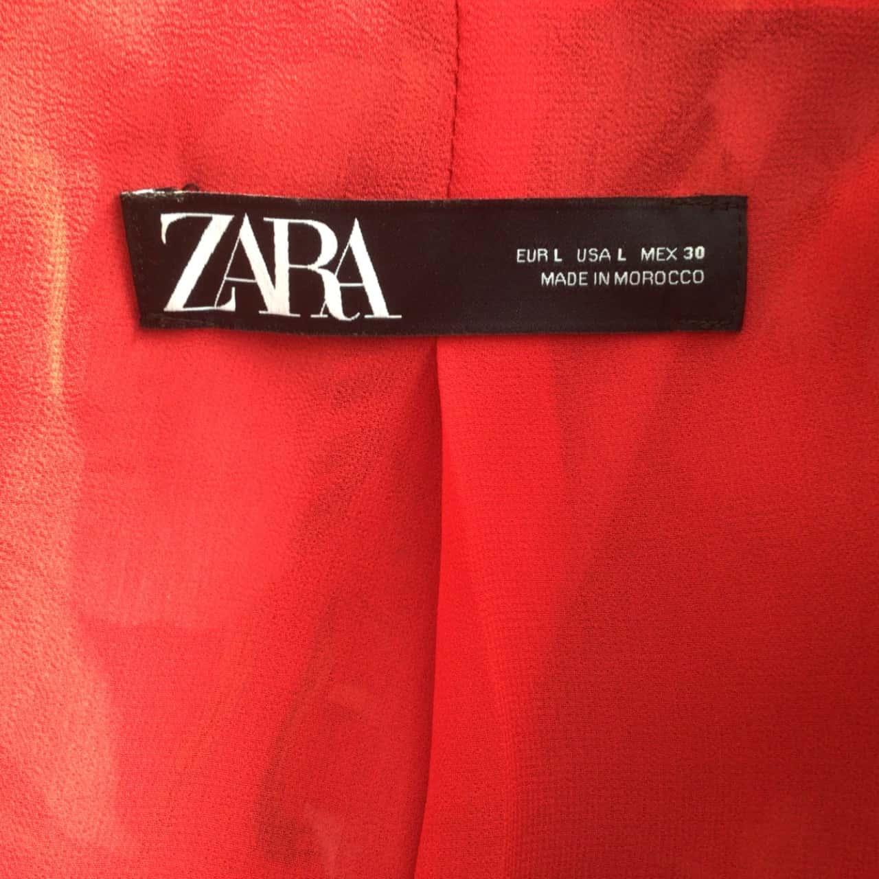 Womens  ZARA RED FLORAL SATIN FEEL OPEN JACKET Size L