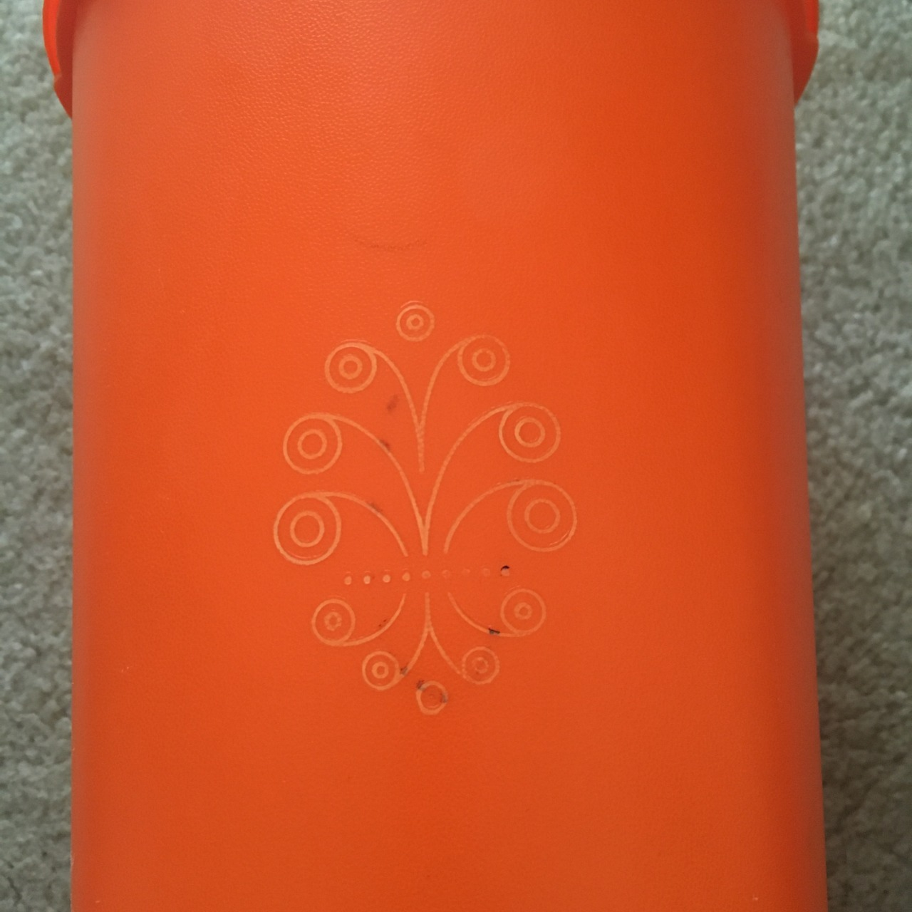 Tupperware Orange Retro Tall Fan Lid Storage Container