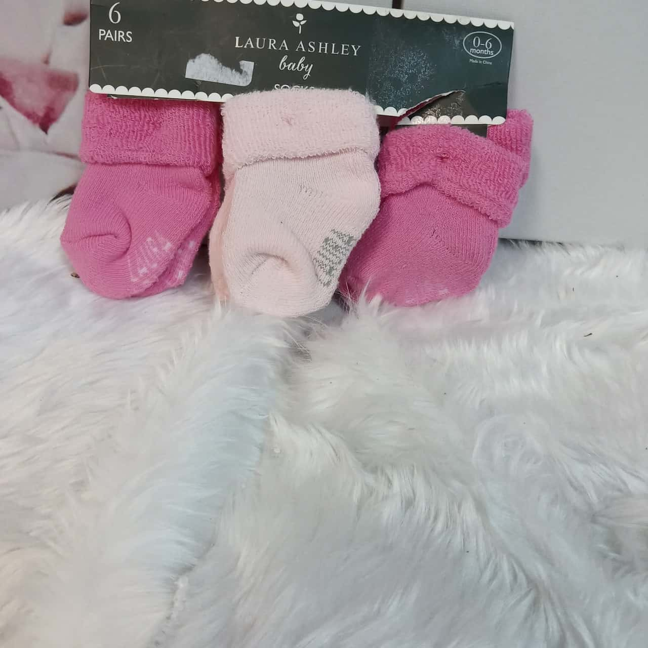 Laura Ashley Baby Socks Pink 0-6 months 6 pairs