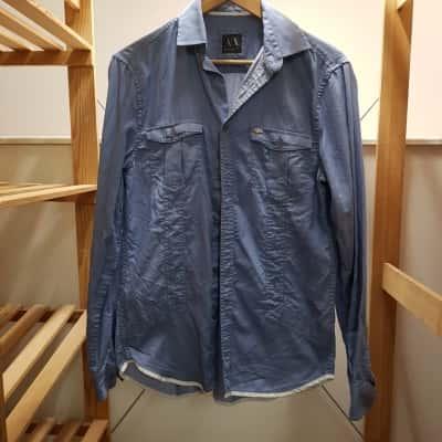 Armani Exchange Mens Long Sleeve/Business Shirt Blue Size S