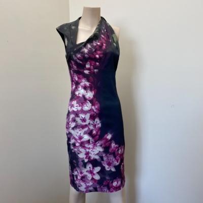 Karen Millen  Designer Women's  Sleeveless Dress Size 12 Blue/Floral/Green/Pink /Purple