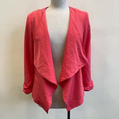 New Look Womens Waterfall Jacket Pink Size 14
