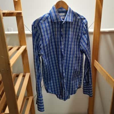 Rhodes & Beckett Men's Blue & White Check Long Sleeve Shirt Size 42