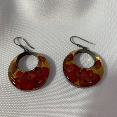 Womens Circular Drop Style Hook Earrings Red/Floral/Silver/Yellow