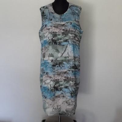 LIZ JORDAN Size 18 Floral Dress/Midi Dress/Strapless Blue/Grey/White