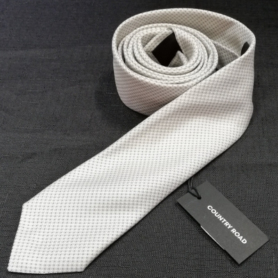 COUNTRY ROAD Pale Grey Silver Tie Brand New RRP $79.95