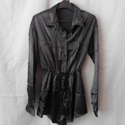 Pretty Little Thing Ladies Black Satin Playsuit Long Sleeves Size 8
