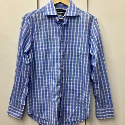 Rhodes and Beckett Mens Size 39/15.5 Long Sleeve Blue & White Shirt