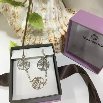 Michael Hill Tree Of Life Women's Bracelets And Earrings Set 925 Silver