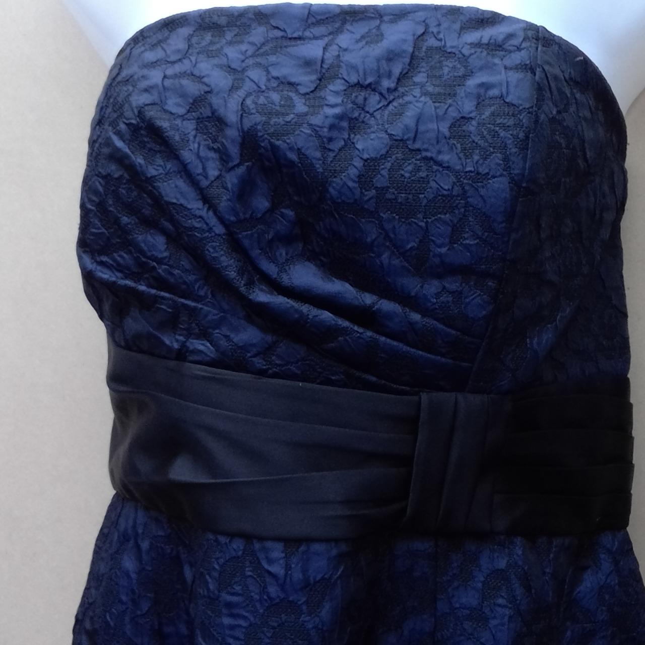 Womens TABLE EIGHT 2PCE  STRAPLESS DRESS &BOLERO JACKET Blue /Black Lace Size 14 Formal Dress/Cocktail Dress/Midi Dress