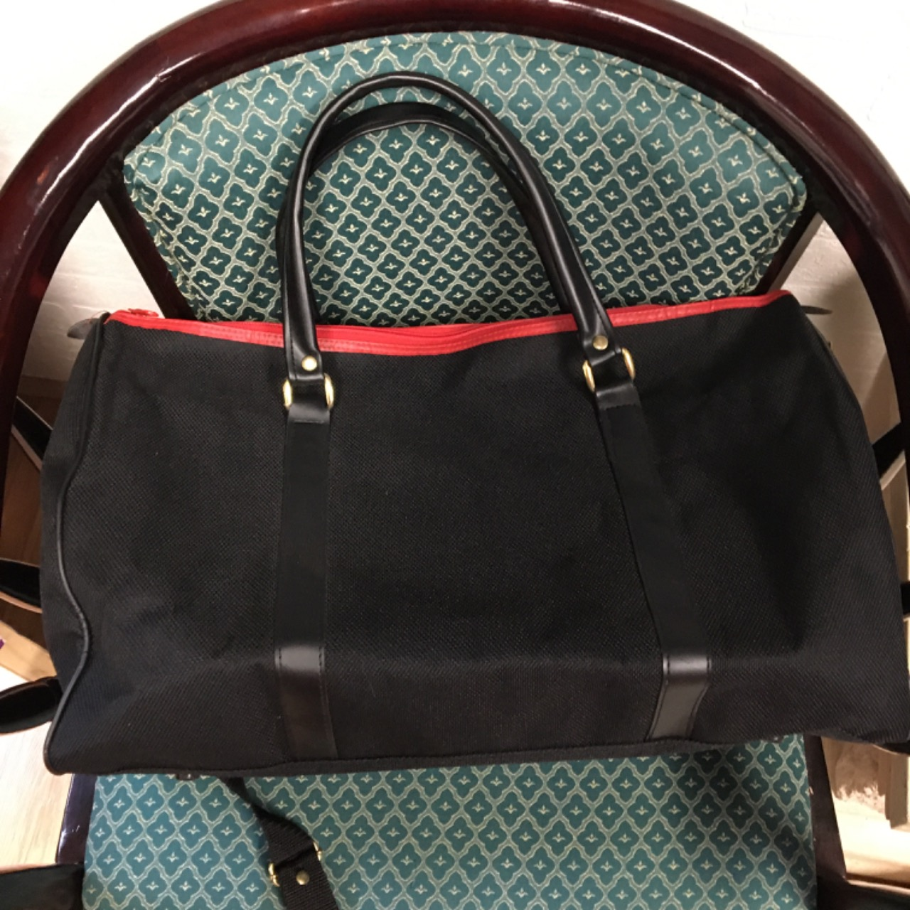 Black & Red Ray Ban Overnight Bag