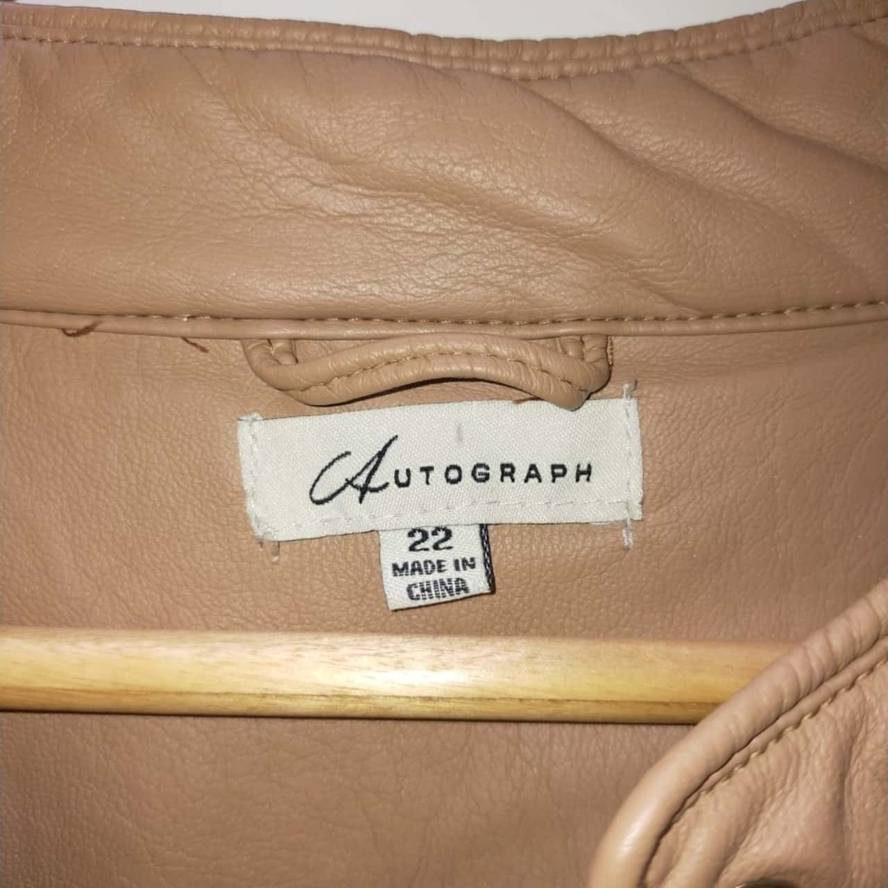 Autograph Womens Faux Leather Size 22 Biker Jacket Brown