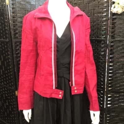 Womens MNG LIGHTWEIGHT ZIP UP JACKET  MAROON Size 12 Pink  SMALL STAIN TOP BACK