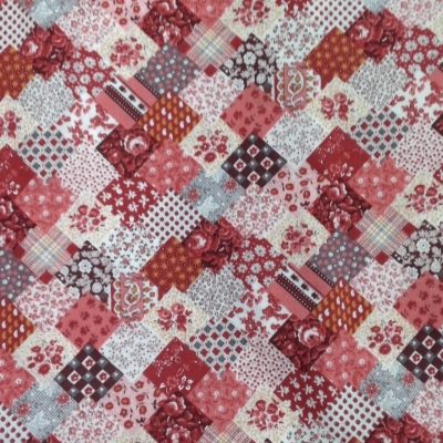 NEW FUNKY PATCHWORK MATERIAL 250cm x 86cm Pinks, Browns White