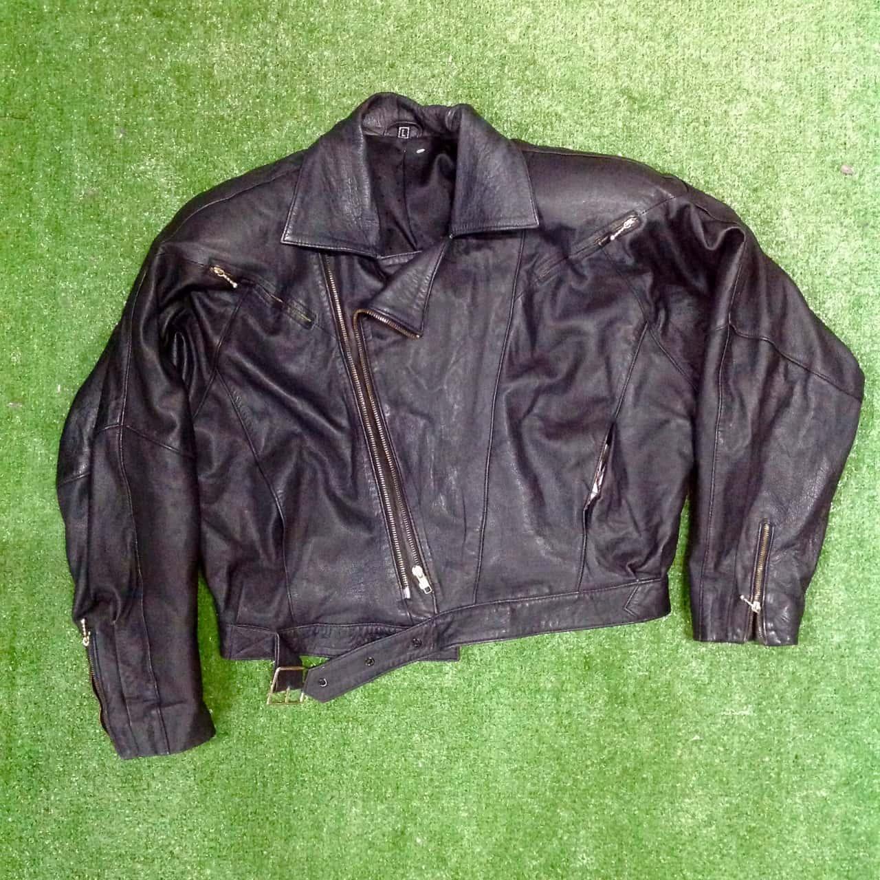 Womens  Size L/ 10/12 leather Biker Jacket Black