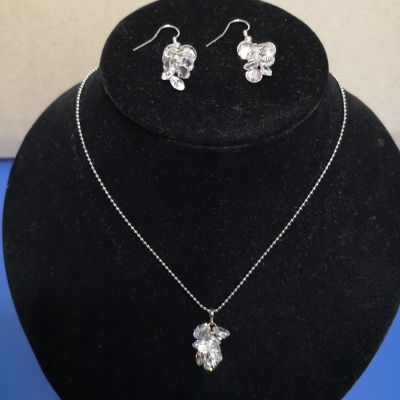 Womens Crystal Set Necklace & Earrings
