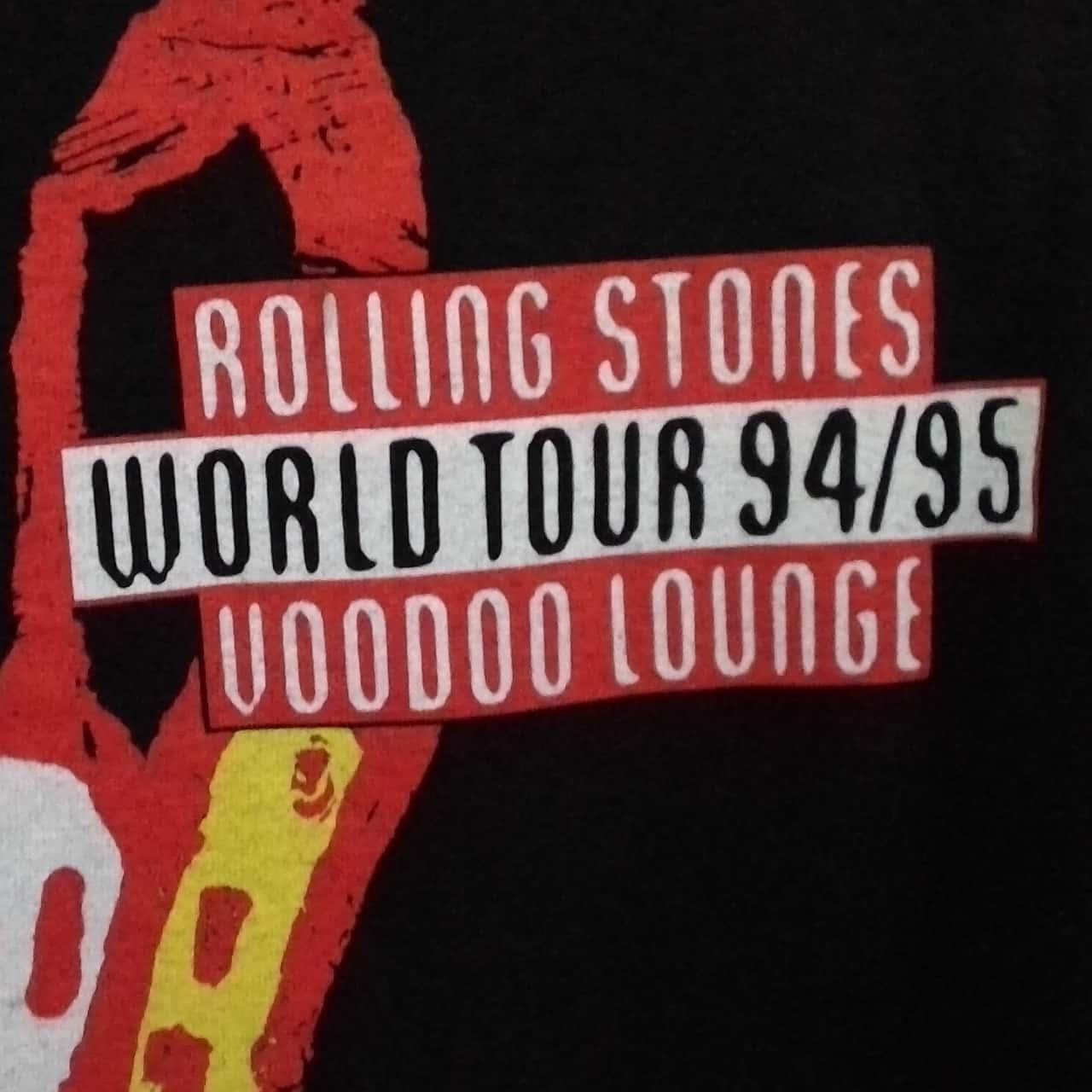 Mens  VINTAGE ROLLING STONES VOODOO LOUNGE TOUR SHIRT 94-95 Size M T-Shirt Black /Red/White
