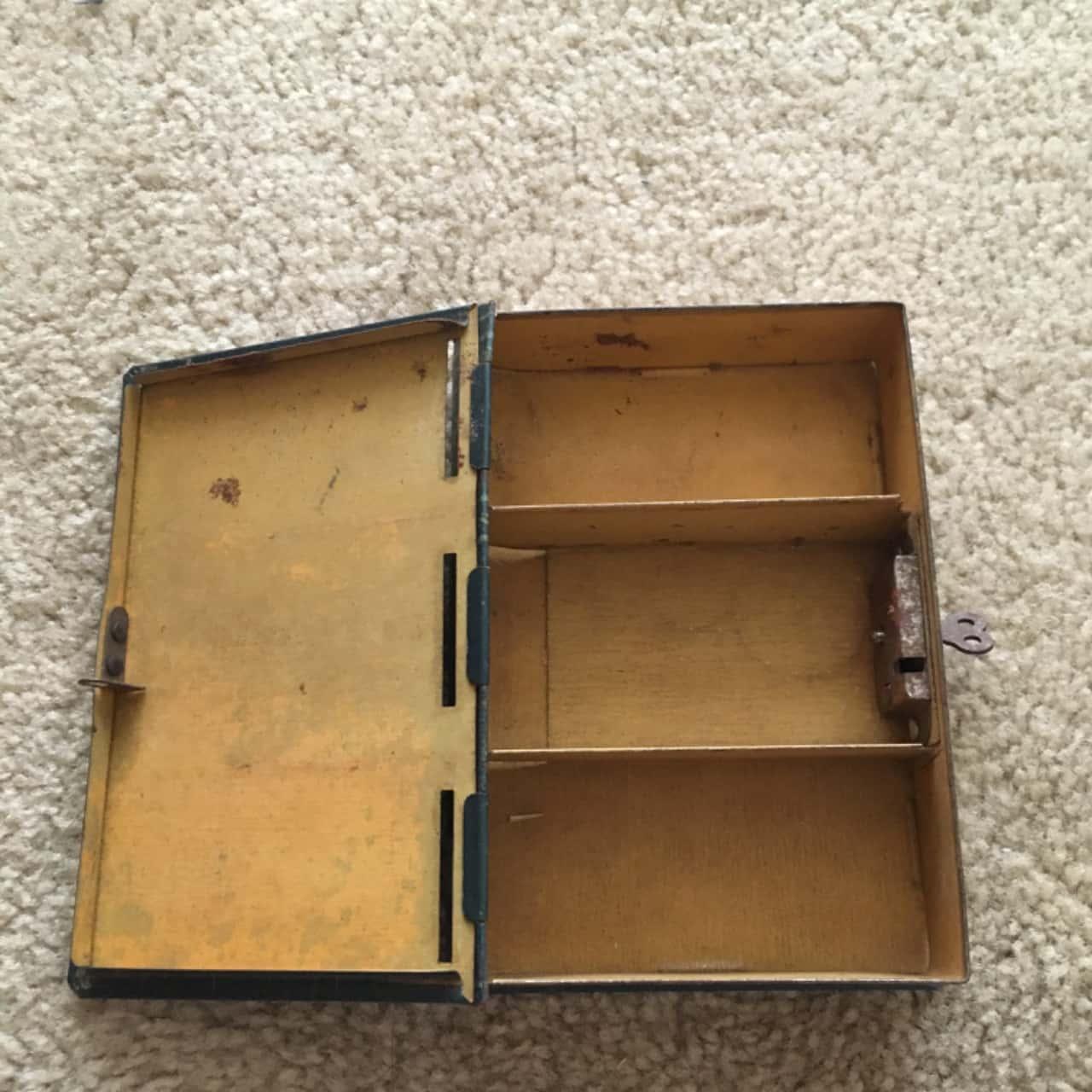 Vintage Happy Days Book Shaped Money Tin Box with Key