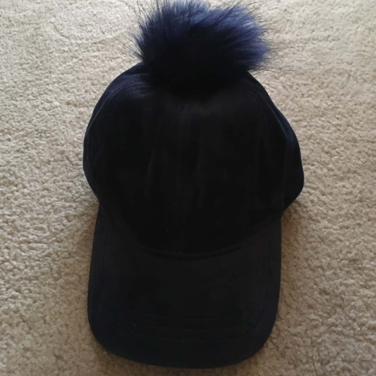 Country Road Kids Navy Blue Cap with Faux Fur Pom Pom