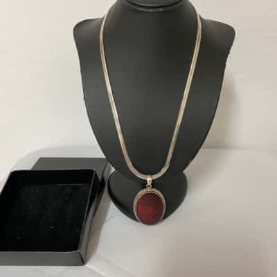 Womens Necklace 925 with Red