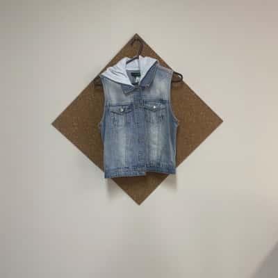 Caroline Morgan denim jacket with hood size 10 Blue/Grey