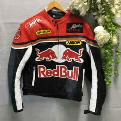Red Bull Mens Bikers Jacket Size M Black /Red/White