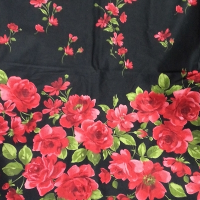 New Material Black, Red, Green Floral 166 cm 144 cm