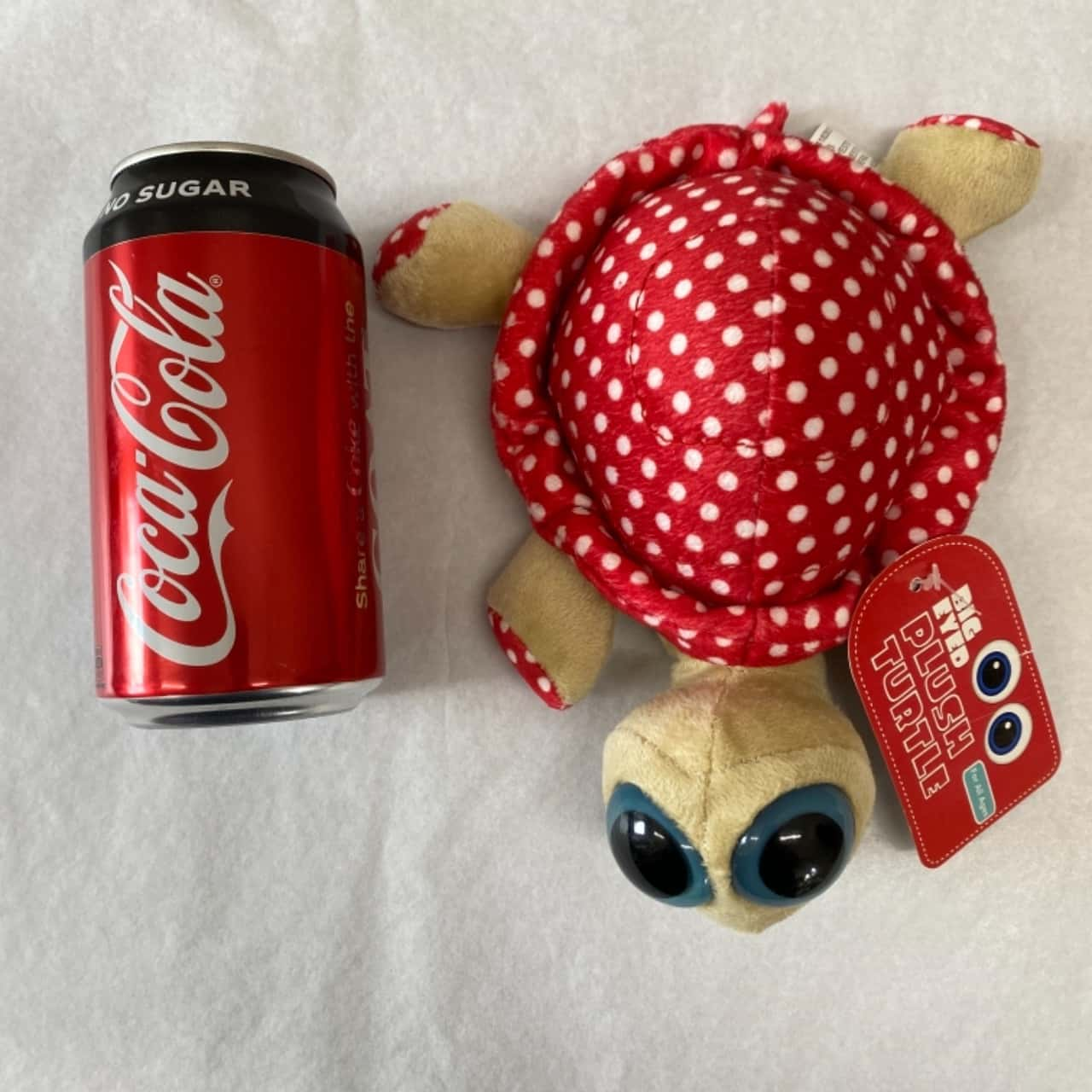 Big Eyed Plush Turtle Red And White Polka Dot- New With Tags