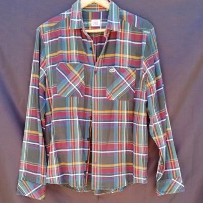 Lacoste Mens Flannel Tartan Shirt Size 42 Long Sleeve Multicoloured