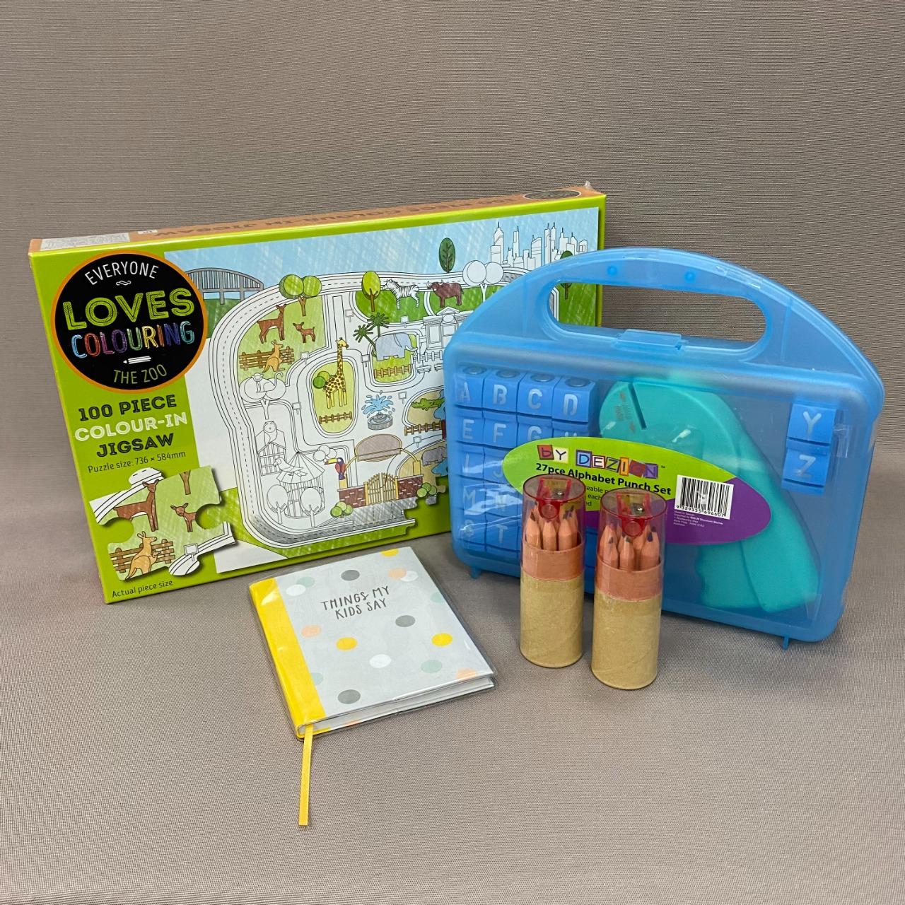 Kids Colour Jigsaw + Alphabet Punch Set Bundle