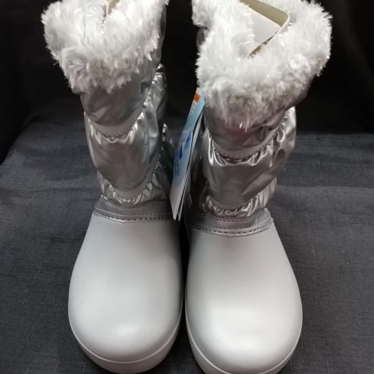 CROCS Kids Silver Snow Boots Size C12