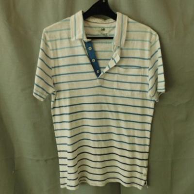 ****EOFYS**** Jag Mens Polo Shirt White with Light Blue Stripes Slim Fit Size S UAF.