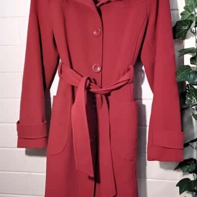 Womens  Size 14 Trench Coat Red Picnic