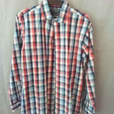 Van Heusen Mens Red/White/Blue Check Size 41 UAN