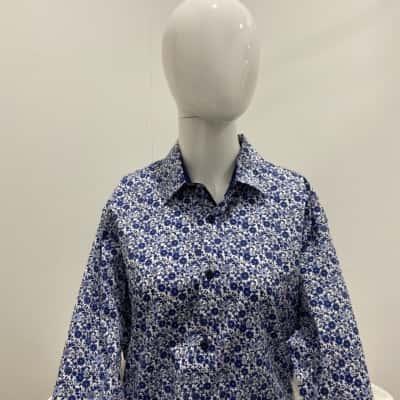 Tarocash Mens Size M Slim Fit Long Sleeve Blue Button Down Shirt
