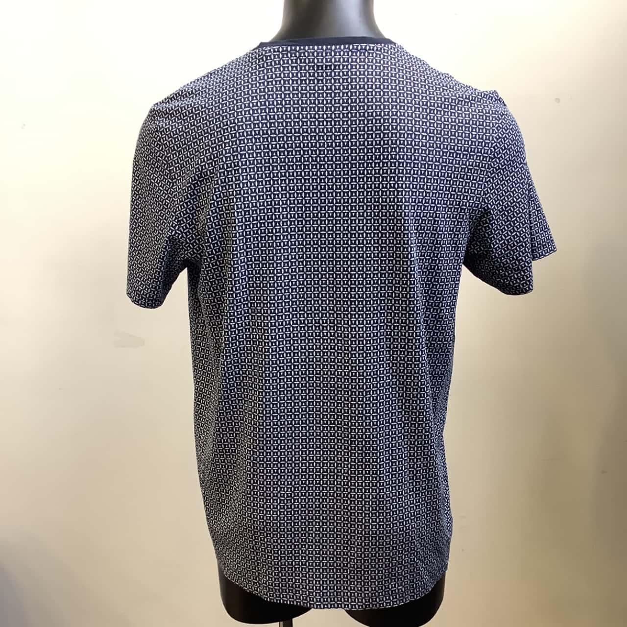 NEXT Mens  Size UK: XL Navy Blue/Pattern Regular Fit Cotton Tee