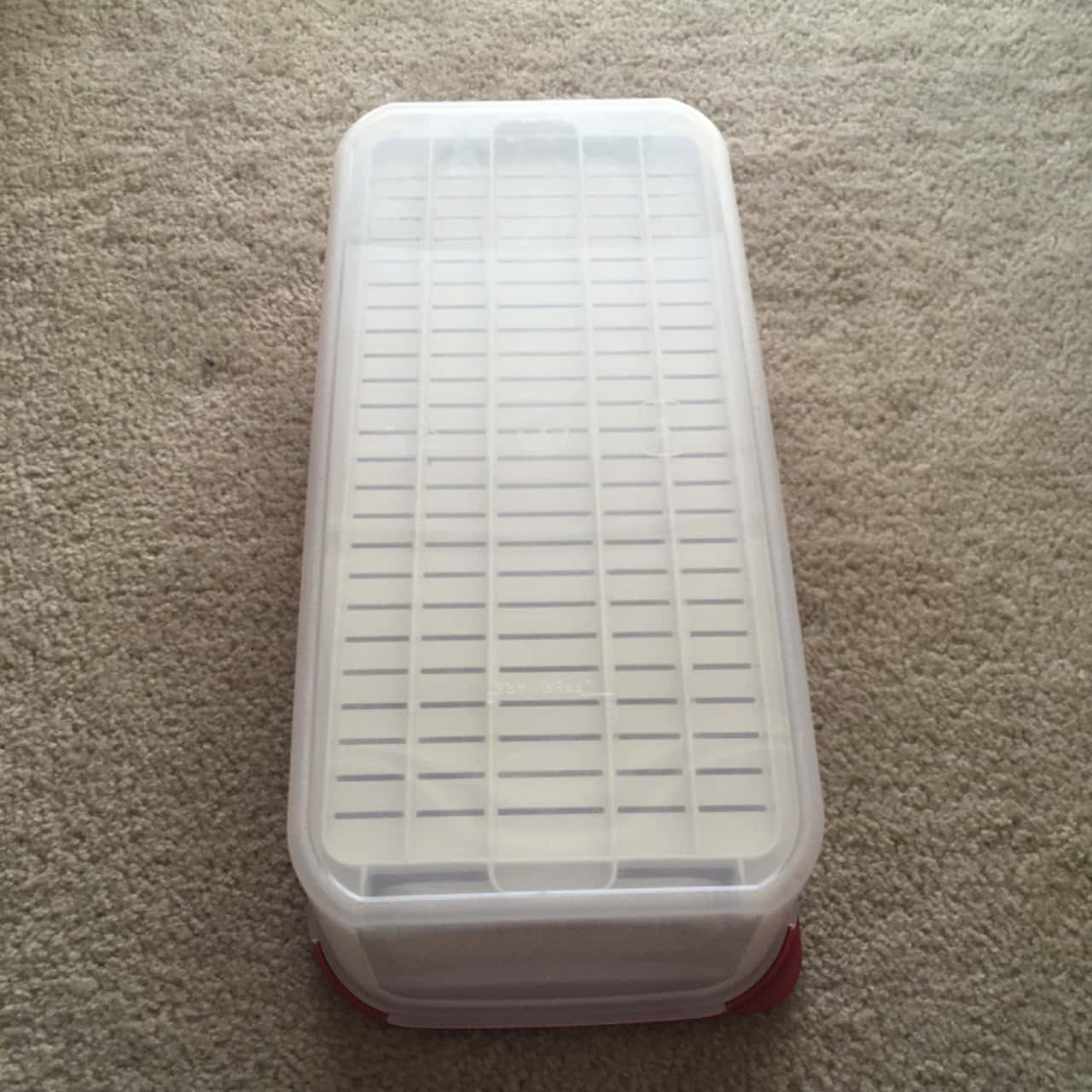 Tupperware Rectangle Storage Container with White Tray, Red/Clear