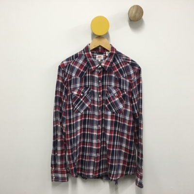Levis Mens Size L Long Sleeve Red/Blue Flannel Shirt