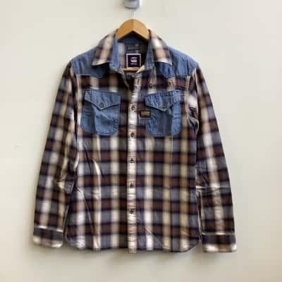 G-Star Raw Mens  Size S Long Sleeve Blue / Grey Checks Shirt