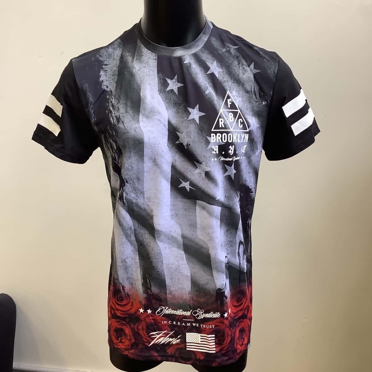 Fabric Mens  Size M `Brooklyn International Syndicate' Black /Grey Tee