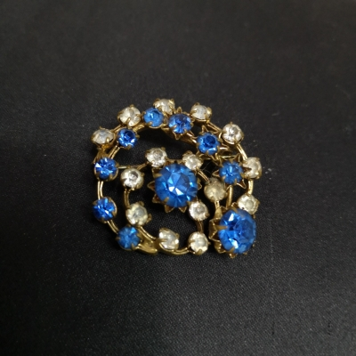Womens Golden with Blue Crystal Brooch
