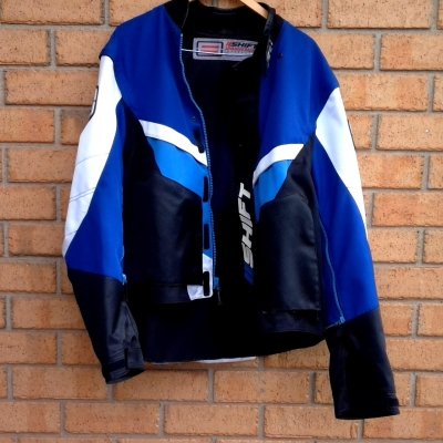 Mens SHIFT MOTORCROSS MOTORBIKE RIDING JACKET Size XXL Black /Blue/White