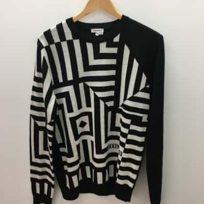 Bikkenbergs Mens Size M Black /White Knit Sweater
